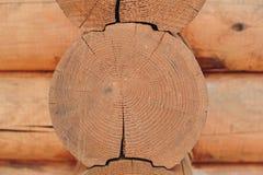 Détail des faisceaux dans le mur de carlingue Bois peint avec la peinture de fongicide photo stock