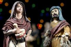Détail des figurines de scène de nativité Traditions de Noël Photos stock