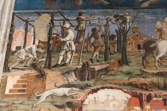 Détail des fresques dans le Palazzo Schifanoia, Ferrare, Italie Photos libres de droits