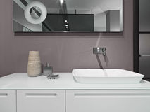 Détail des meubles blancs pour le lavabo Photos stock