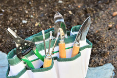 Détail des outils de jardinage dans le sac d'outillage Image libre de droits