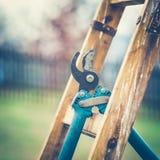 Détail des sécateurs de jardinage Hang Up sur un Ladded de jardinage Images stock