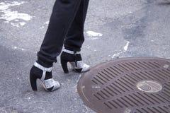 Détail des talons hauts des femmes à New York Photos libres de droits