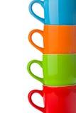 Détail des tasses en céramique colorées Images libres de droits