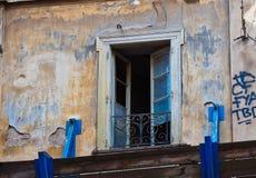 Détail du bâtiment central abandonné d'Athènes, Grèce photos stock