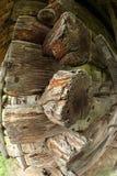 Détail du bâtiment en bois antique vu avec le fisheye Photographie stock libre de droits