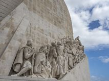 Détail du monument aux découvertes, Lisbonne image libre de droits