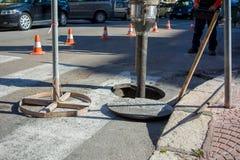 Détail du tuyau d'une machine pour nettoyer les trous d'homme dans images libres de droits