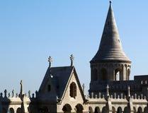 Détail en pierre de la bastion du ` s de pêcheur à Budapest photos libres de droits