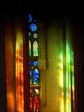 Détail en verre d'arc-en-ciel de familia de Sagrada Images libres de droits