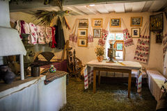 Détail intérieur de maison antique ukrainienne, dans Pirogovo Image libre de droits
