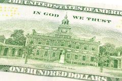 détail inverse de billet de banque de 100 nous-dollars photo libre de droits