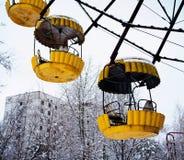 Détail jaune rayonné de grande roue photographie stock libre de droits