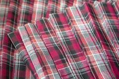 Détail nouveau de jupe plissée de mode par plaid : coton rouge, marron, gris de tissu d'uniforme scolaire de tartan/matériel de l images stock