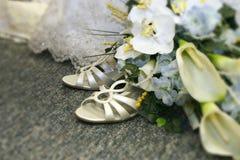 Détail nuptiale de chaussures Photos libres de droits