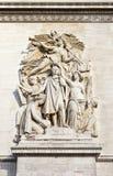 Détail sculptural sur Arc de Triomphe à Paris Photo stock