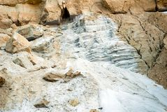 Détail texturisé montrant le sable blanc et l'argile beige Photographie stock libre de droits