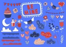 DÉTAIL Valentine Cartoon Design Element Set d'AMOUR illustration de vecteur
