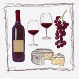 Détaillé tiré par la main ensemble bouteille de vin de vintage de schéma, groupe de raisin, verres de vin et ensemble tiré par la illustration stock