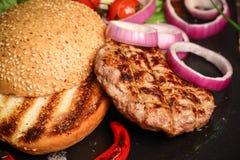 Détaille l'hamburger Photographie stock libre de droits