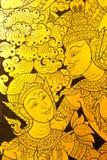 détaille traditionnel thaï de type de peinture de trappe Photos stock