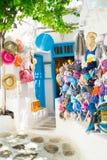 Détaillez l'image d'une boutique touristique grecque sur l'île de Mykonos Photographie stock libre de droits