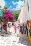 Détaillez l'image d'une boutique touristique grecque sur l'île de Mykonos photo stock