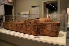 Détails complexes de maman antique dans l'objet exposé égyptien, d'institut d'Albany de l'histoire et d'art, New York, 2016 Photographie stock libre de droits