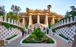 Détails d'architecture de Guell de parc de l'entrée de Gaudi Photos stock