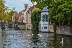 Détails d'automne sur un canal dans la ville médiévale de Bruges, Belgique images libres de droits