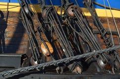 Détails d'un bateau historique de voile Photo stock