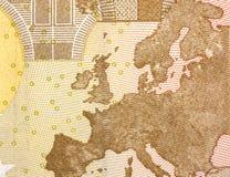 Détails d'un billet de banque de 50 euros ! Photographie stock libre de droits