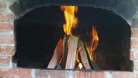 Détails d'un feu en bois banque de vidéos