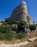 Détails de bâtiments historiques d'architecture de Rhodos Grèce de château d'Asklipeiou Photos libres de droits