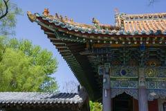 Détails de corniche de bâtiment d'antiquité de style de la Chine Image stock