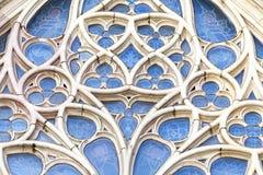 Détails de fenêtre rose dans la cathédrale de Barcelone dans le quart gothique, Espagne Photos libres de droits