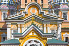 Détails de la façade de la cathédrale de Zenkov, à Almaty, Kazakhstan Photographie stock