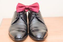 Détails de noeud papillon et de chaussures Photographie stock libre de droits