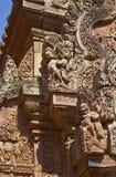 Détails de temple de Banteay Srei Photographie stock libre de droits