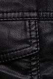 Détails noirs de veste en cuir Images stock
