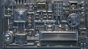 Détails, pièces, tubes et fils électroniques 3D rendent la texture illustration stock