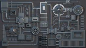 Détails, pièces, tubes et fils électroniques 3D rendent la texture illustration libre de droits