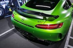 Détails 2018 V8 Bi-turbo, phare extérieurs GTR verts de Mercedes-Benz AMG Vue arrière Détails d'extérieur de voiture Photo stock
