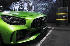 Détails 2018 V8 Biturbo, phare extérieurs GTR verts de Mercedes-Benz AMG Front View Détails d'extérieur de voiture Image stock