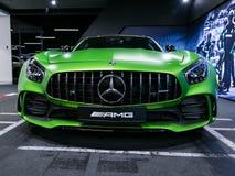 Détails 2018 V8 Biturbo, phare extérieurs GTR verts de Mercedes-Benz AMG Front View Détails d'extérieur de voiture Photographie stock