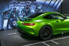 Détails 2018 V8 Biturbo, phare extérieurs GTR verts de Mercedes-Benz AMG Front View Détails d'extérieur de voiture Image libre de droits