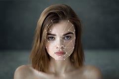 Détection biométrique de visage image stock