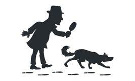Détective avec la silhouette de chien de loupe et de traqueur Photo libre de droits