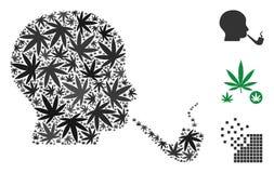 Détective de tabagisme Mosaic des feuilles de chanvre illustration stock