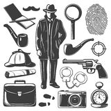 Détective Elements Set de vintage illustration stock
